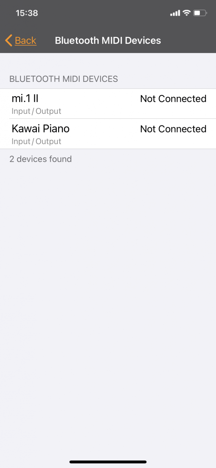 1. Öffnen Sie die BT MIDI Geräte Einstellung in Ihrer App. Wählen Sie dann das mi.1 II aus der Liste aus.
